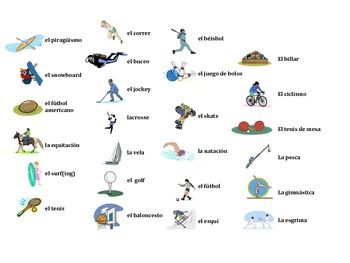 Spanish Sports and Activities Vocabulary Game (Ve a pescar-Go Fish)