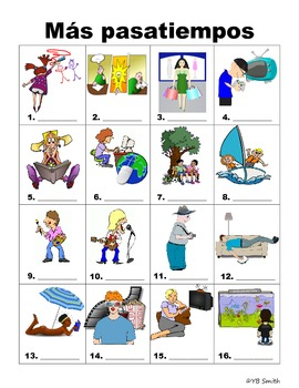 Spanish Sports and Pastimes Vocabulary PICTURE Notes SET