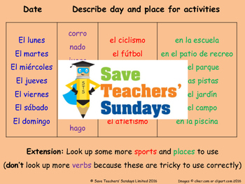 Spanish Sports - days and venues Lesson plan, PowerPoint (with audio) & More ...