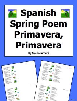 Spanish Spring 5 Stanza Bilingual Poem Primavera, Primavera