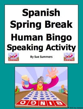 Spanish Spring Break Human Bingo Game Speaking Activity &