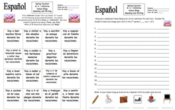 Spanish Spring Break Ir A Infinitive Human Bingo Game Speaking Activity