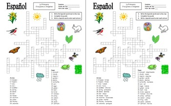 photograph regarding Spring Crossword Puzzle Printable referred to as Spanish Spring Crossword Puzzle Worksheet and Vocabulary - Primavera