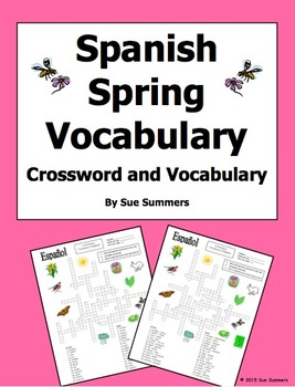 Spanish Spring Crossword Puzzle Worksheet and Vocabulary -