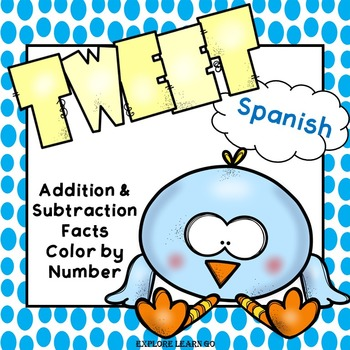 Spanish Spring Math / Addition and Subtraction Facts to 20 / Color by Number