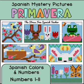 Spanish Spring Mystery Pictures! Color By Number / Grid for Spring