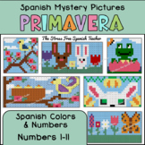 Spanish Color By Number Mystery Pictures! Grids for Spring