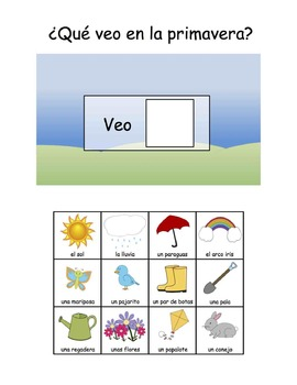 Spanish and English Spring Vocabulary Books, Flashcards, and Communication Pages