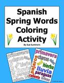 Spanish Spring Vocabulary Coloring Activity and Classroom Sign - Primavera