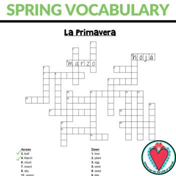 Spanish Spring Vocabulary Crossword