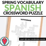 Spanish Spring Break - Vocabulary Building Crossword Puzzle