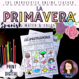 Spanish Spring Vocabulary Match and Coloring Activity   Pr