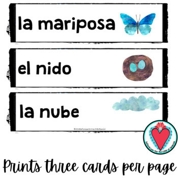 Spanish Spring Vocabulary Word Wall