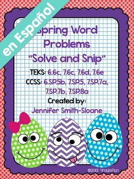 Spanish Spring Word Problems Solve and Snip- Probability-