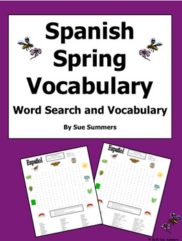Spanish Spring Word Search Puzzle Worksheet and Vocabulary - Primavera