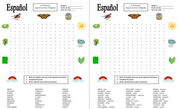 image relating to Spanish Word Searches Printable identified as Spanish Spring Phrase Glimpse Puzzle Worksheet and Vocabulary - Primavera