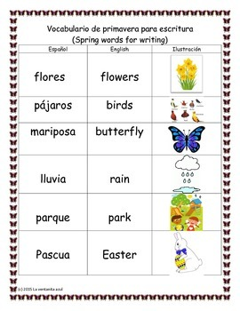 Spanish Spring Words for Writing