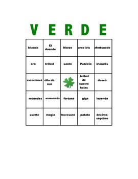 Spanish St. Patrick's Day Bingo