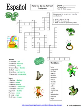 Spanish St. Patrick's Day Bundle - Practice, Listening, Puzzles, and Vocabulary