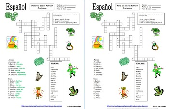 spanish st patrick s day crossword puzzle and vocabulary ids by sue