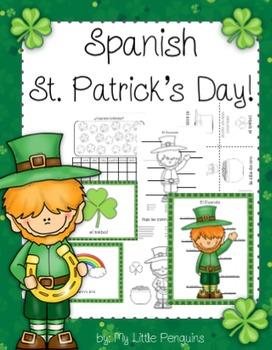 Spanish St. Patrick's Day (El día de San Patricio) March posters and worksheets
