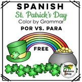 Spanish St. Patrick's Day Color by Grammar Por_Para