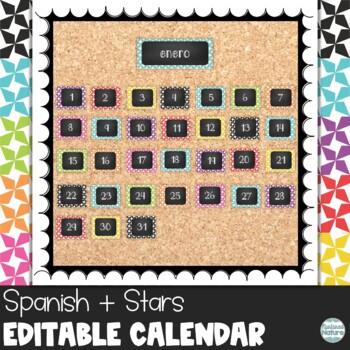 Spanish Star Chalkboard Classroom Calendar Set 9 Colors Blue Green Red
