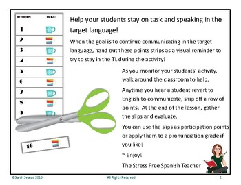 Spanish Stay On Task Strips, Communication in Target Language Tool