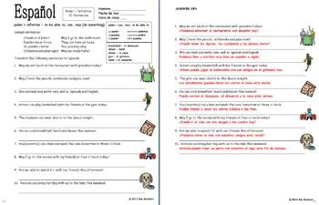 Spanish Stem Change Verb Poder 10 Translations Worksheet