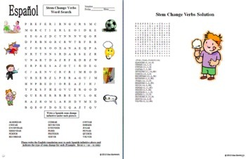 Spanish Stem Change Verbs Bundle - 8 Worksheets and Vocabulary Reference