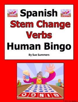 Spanish Stem Change Verbs Human Bingo Game Speaking Activity