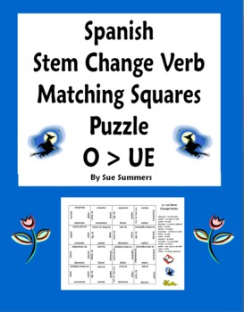 spanish stem change verbs matching squares puzzle o to ue by sue summers. Black Bedroom Furniture Sets. Home Design Ideas