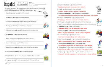 Spanish Stem Change Verbs & Time 12 Sentences Worksheet