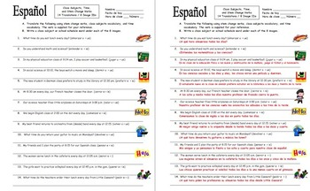 Spanish Stem Change Verbs,  Time, and Class Subjects Worksheet