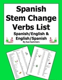 Spanish Stem Change Verbs Vocabulary Lists