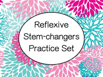 Spanish Stem-Changing Reflexive Verbs Worksheets Practice Set