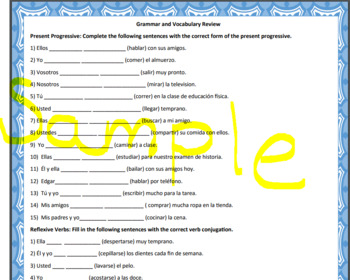 Spanish Stem-Changing, Reflexive, and Tener Que Verbs Activity