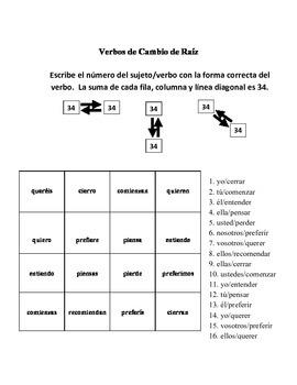 Spanish Stem-Changing Verb Activities - Magic Squares