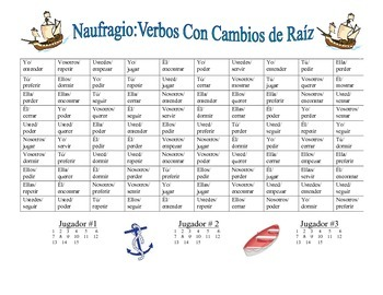 Spanish Stem-Changing Verb Practice Activity (Shipwreck-Naufragio)
