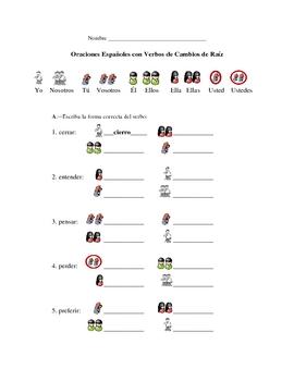 Spanish Stem-Changing Verbs Writing Packet