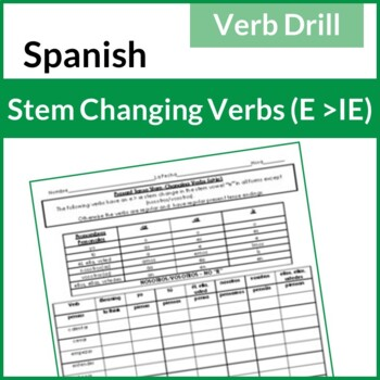 Spanish Present Tense Stem-Changing Verbs Drill (E-IE)