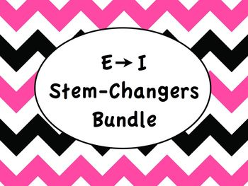 Spanish Stem-Changing Verbs E to I Bundle - Slideshows, Worksheets Practice Pack