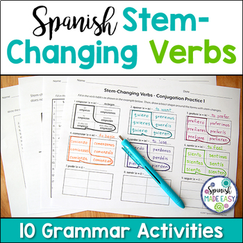 Spanish Stem Changing Verbs Grammar Bundle