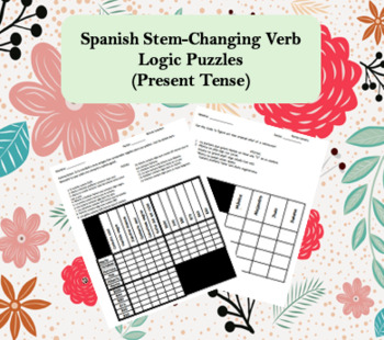 Spanish Stem-Changing Verbs Logic Puzzles (Easy and Hard Versions)