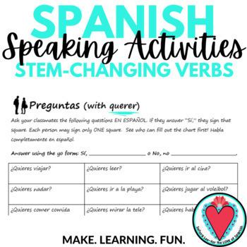 Spanish Stem Changing Verbs - Spanish Speaking Activity - Find Someone Who