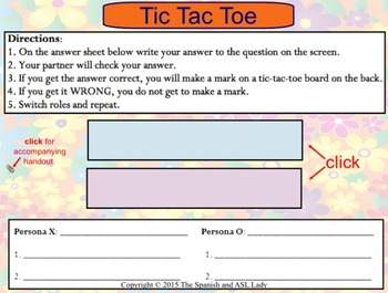 Spanish Stem Changing Verbs Tic Tac Toe Game