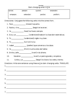Spanish Stem Changing Verbs Worksheets (e-->ie) (e-->i)