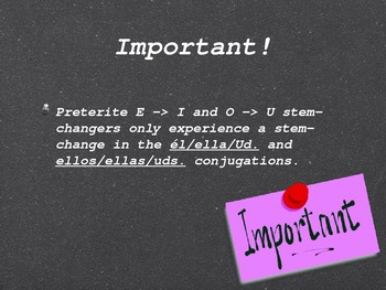 Spanish Preterite E to I & O to U Stem-Changing Verbs PowerPoint Slideshow