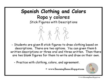 Spanish Stick Figures - Clothing and Colors