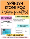 Spanish Stone Fox 30+ READ ALOUD questions, 7 Character Organizers + 3 QUIZZES
